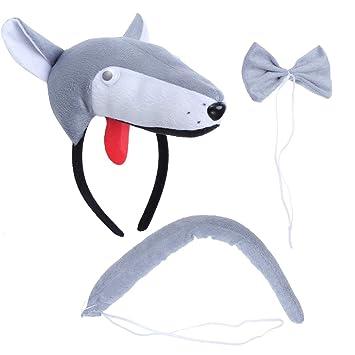 BESTOYARD Disfraz de Lobo para Niños Diadema Animal Conjunto de Orejas Animal Cola y Pajarita Traje de Costume para Halloween Fiesta 3 Piezas Lobo