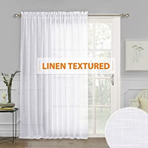 Extra Wide Linen Sheer Curtains - Linen White Sheer Curtain Large Window Decorating Privacy Panel for Living Room Dining Bedroom Patio Sliding Glass Door, 100 inches Wide x 84 inches Long, 1 Pc