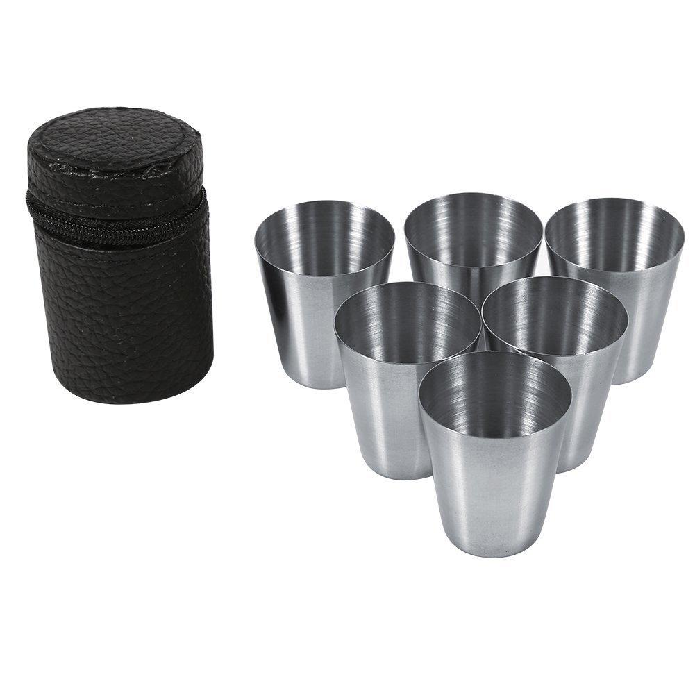 Portatile in acciaio INOX coppa set mini tazza per tè , caffè , vino per outdoor Equipment arrampicata escursioni viaggio 4 pezzi/6 pezzi, Acciaio inossidabile, #1 caffè Yosoo