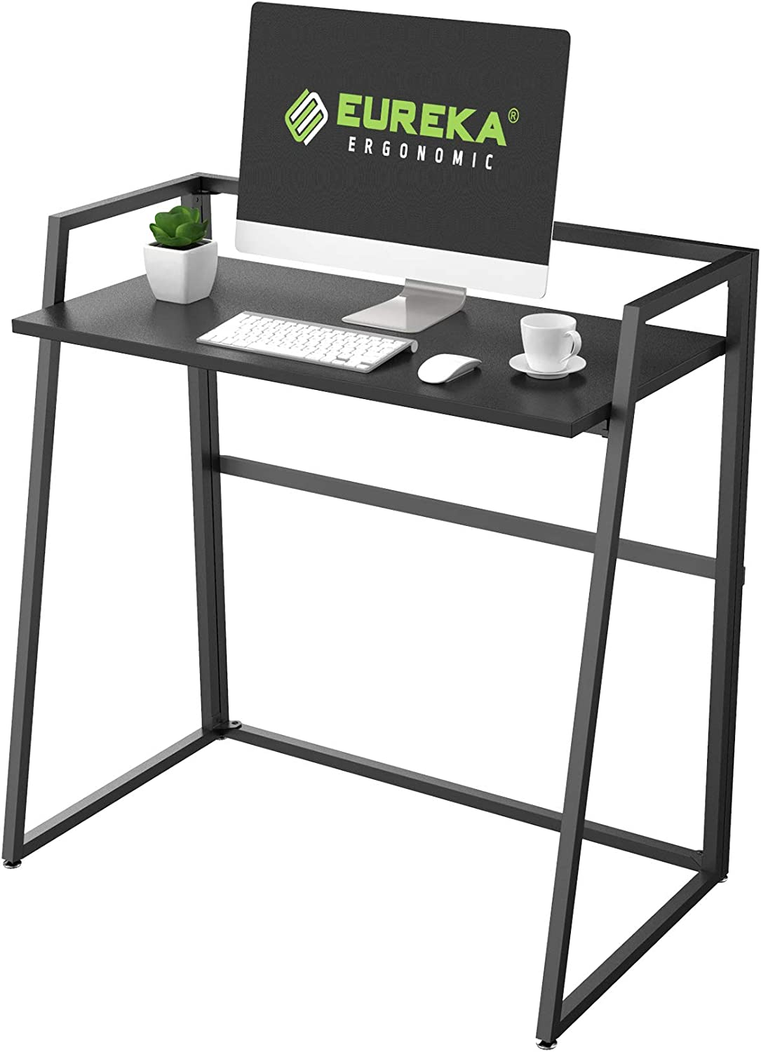 EUREKA ERGONOMIC Modern Folding Computer Desk Teen Student Dorm Study Desks 33-inch Fold up Desk, Easy to be Folded or Unfolded for Writing, Laptop Working and Crafting, Fits Home Office, Black