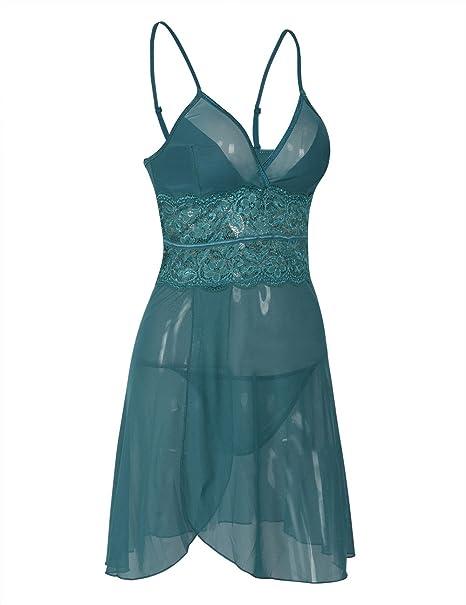 e80c3f848 Rocorose Womens Nightwear Mesh Straps Sexy Mini Slip Dress Lake ...