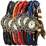6-Pcs-Lot-Wholesale-Vintage-Wrap-Around-Womens-Bead-Leaf-Bracelet-Quartz-Watch-LOTW047