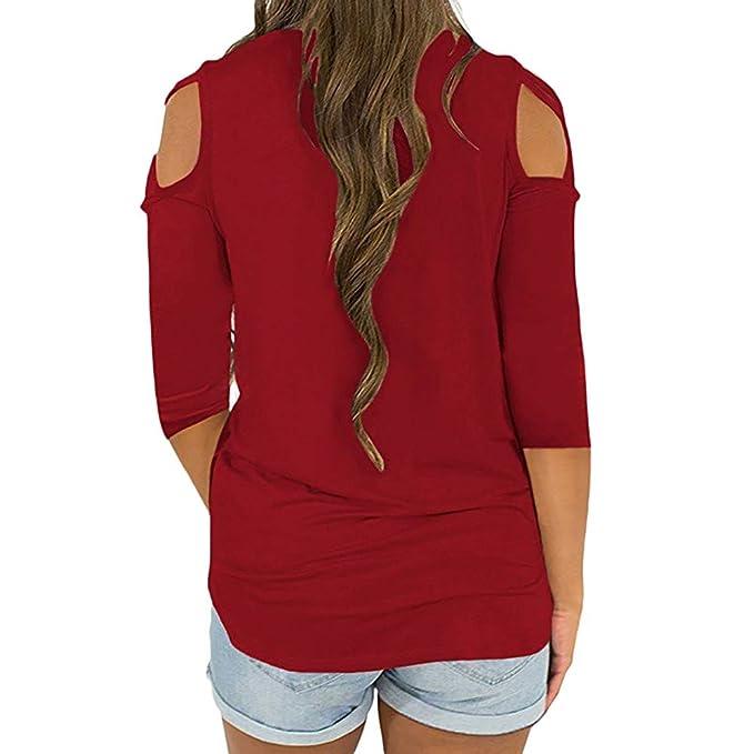 Niña otoño fashion,Sonnena ❤ Blusa moderna de manga tres cuartos de mujer elegante dama Crisscross Strappy Cold Shoulder camiseta Tops de moda Blusas: ...