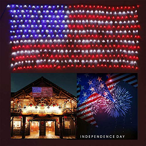 - Green Convenience Upgraded 8.3ft x 3.3ft American Flag Light 420 Super Bright LED Waterproof Outdoor Decor Garden Lights Path Lights Hanging Fairy Lights Independence Day, Memorial Day