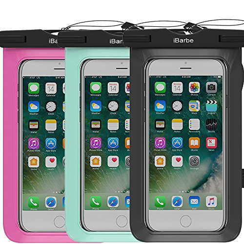 iBarbe 3 Pack Waterproof Case, Universal Cell Phone Plasic TPU Dry Bag for iPhone 7 7 Plus 6S 6/6S Plus 5/S/SE 5C Samsung Galaxy Note 5 s8 s8 Plus S 8 S7 S6 Edge s5 etc.to 5.7 inch,Tear+Black+Rose]()