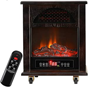 KOOLWOOM Portable Electrci Space Heater Infrared Zone Heating Systems with Thermostat for Office and Home,Tip-Over and overheat Protection Remote Control 12hr Timer & Filter 750W-1500W Dark Walnut
