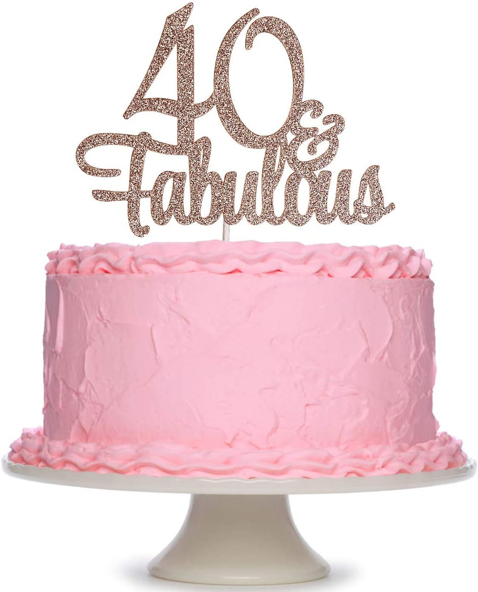Brilliant Amazon Com Rose Gold Glittery 40 Fabulous Birthday Cake Topper Personalised Birthday Cards Cominlily Jamesorg