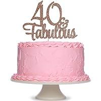 Rose Gold Glittery 40 & Fabulous Birthday Cake Topper - 40th Birthday Party Decorations, 40 Birthday Cake Decorations…