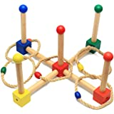 Ring Toss Game - Wooden Ring Toss Set for Camping/Carnival/Outdoor/Lawn/Party/Yard - with Carrying Bag