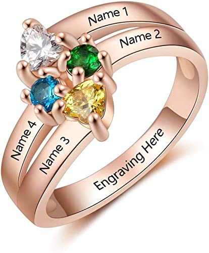 Lam Hub Fong Personalized Sterling Silver Promise Rings for Her 2 Simulate Birthstones Mothers Rings Couples Engagement Rings for Women Promise Rings Mothers Christmas Jewelry for Mom