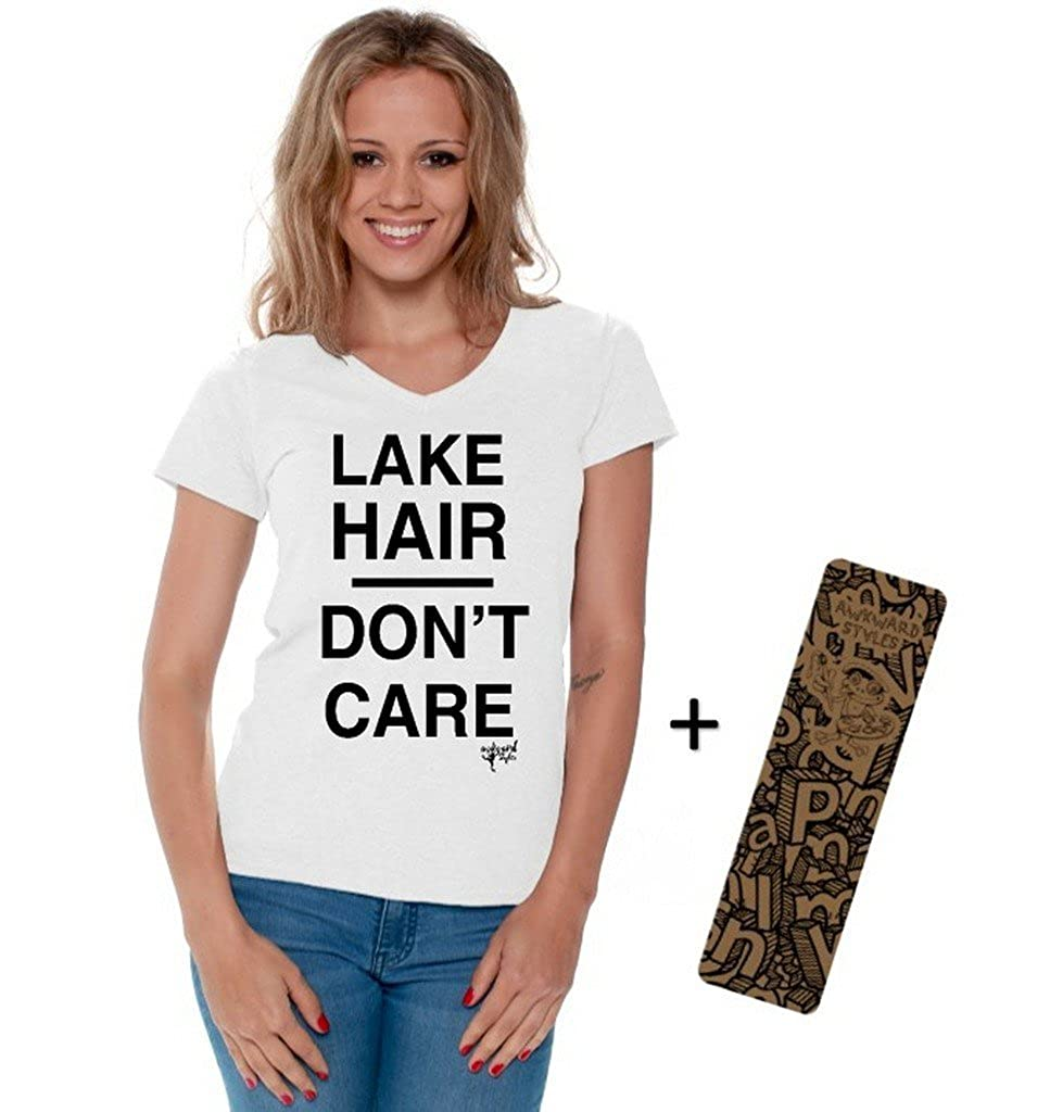 Awkwardstyles Women's Lake Hair Don't Care T-Shirt V-Neck Cute Shirt + Bookmark