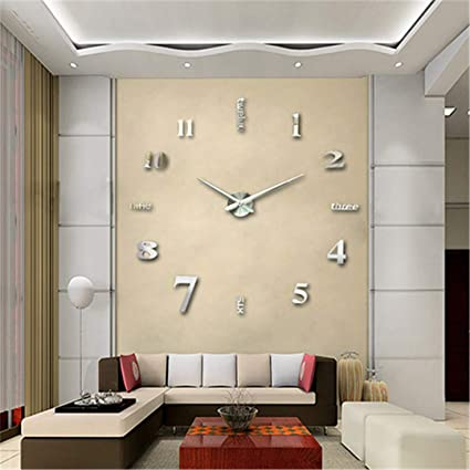 SHFISIKI 3D Large Wall Clock Mirror Wall Stickers DIY Clock Modern Design Reloj De Pared Wand