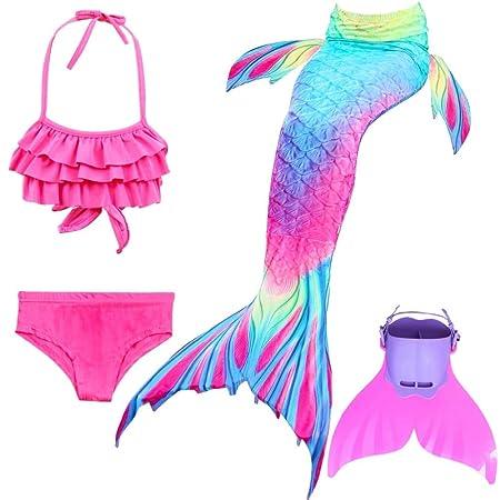 KJGFD Niñas Sirena Cola Swimmable Bikini Conjuntos Monofin ...