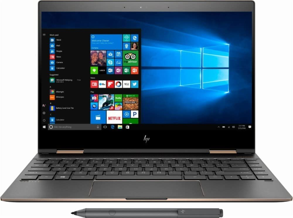 HP Spectre x360 - 13t Touch Laptop i7-8550U Quad Core with 16GB DDR3 RAM,512GB SSD 13.3in IPS FHD Touch, Gorilla Glass, Win 10 Pro, Dark Ash Silver (Renewed)