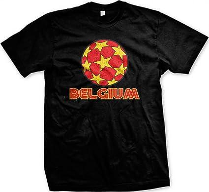 Tartas con diseño de fútbol de Bélgica para Hombre T-Camiseta de Manga Corta, Belgian Pride de balón de fútbol Country diseño de Camiseta para Hombre de balón de fútbol: Amazon.es: Ropa y