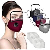 4PC Adults Dust Face Protections - Reusable Cotton Half Face Cover Protections With 8 Replacement Filter And Detachable Eye Shield