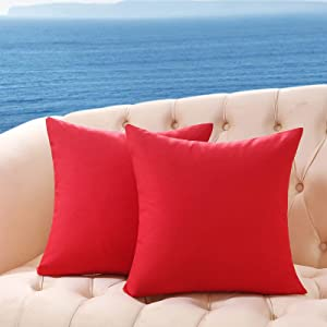 Volcanics Pack of 2 Outdoor Pillow Covers Patio Furniture Waterproof Throw Pillowcase Decorative Square Garden Cushion Case for Patio Tent Couch 18x18 Inches, Red