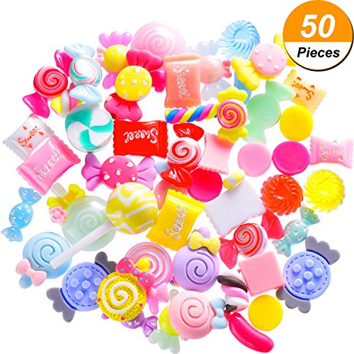 Mtlee 50 Pieces Slime Charms Mixed Candy Sweets Slime Beads Making Supplies for Scrapbooking DIY Crafts -