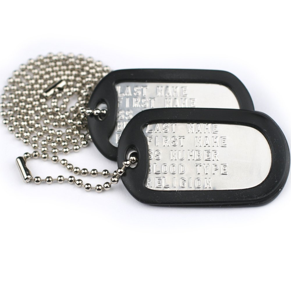 GoTags Pet ID Custom US Military Dog Tag Personalized ID Set. Complete with Chains and Silencers by GoTags Pet ID