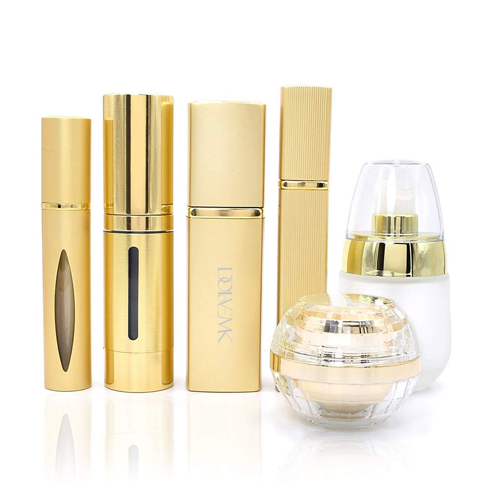 Dolovemk Luxury Metallic Travel Refillable Makeup Empty Bottles Set, Airless Vacuum Pump Spray Atomizer Glass Bottle Roller-on Perfume Bottle Cosmetic Jar Container Gold