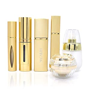 Dolovemk Luxury Metallic Travel Refillable Makeup Empty Bottles Set, Perfume Atomizer | Spray Atomizer Glass Bottle Roller-on Perfume Bottle,Cosmetic Jar Container (Gold)