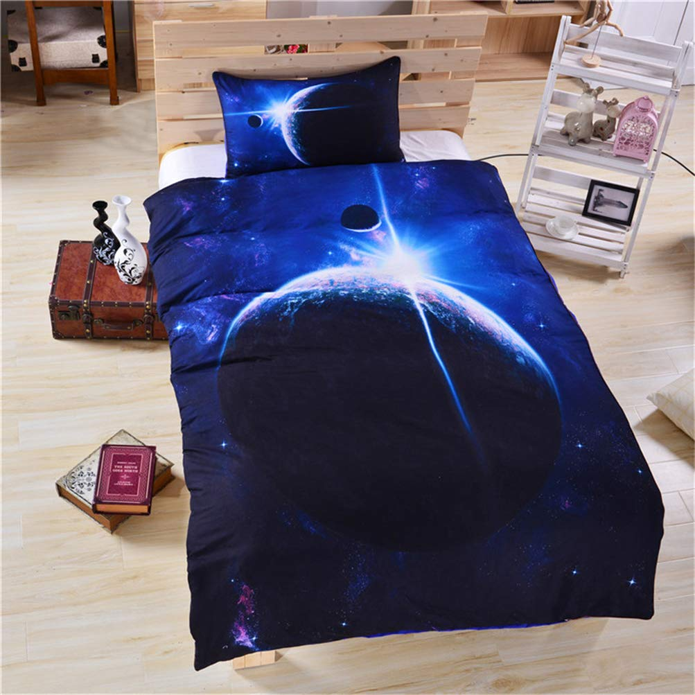 B Queen3 pcs Grapy 3 Pieces Twill Kids Brushed Bedding Set 3D Printed bluee Galaxy Outer Space Comforter Duvet Cover Set with 2 Pillow Shams for Boys and Girls Teens Full Size