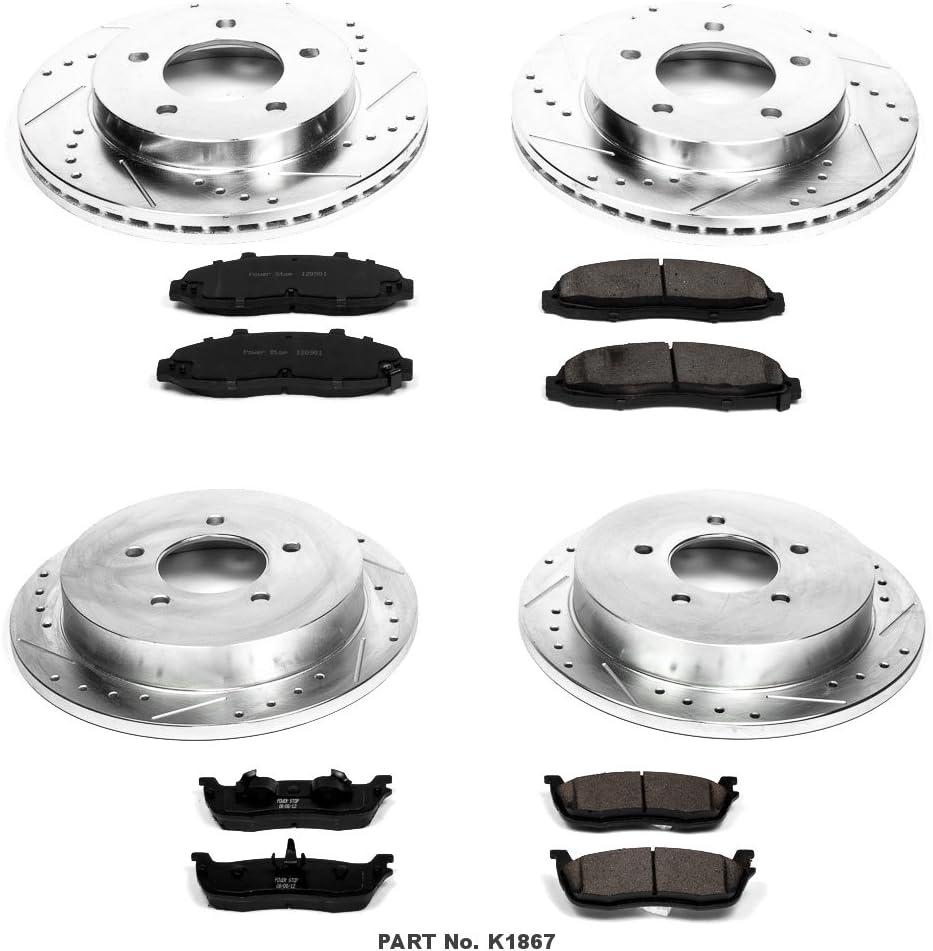 Power Stop K1867 Front /& Rear Brake Kit with Drilled//Slotted Brake Rotors and Z23 Evolution Ceramic Brake Pads