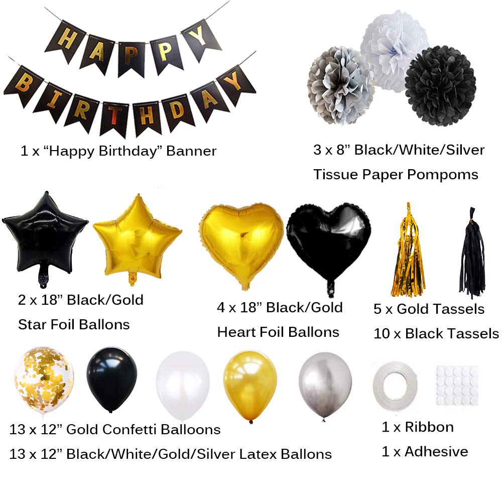 EReach 104pcs Birthday Decorations Kit Tissue Paper Pompoms for Birthday Wedding Deco Party Supplies Happy Birthday Banner Confetti Latex Balloons Black and Gold Tassels Star Heart Foil Balloons