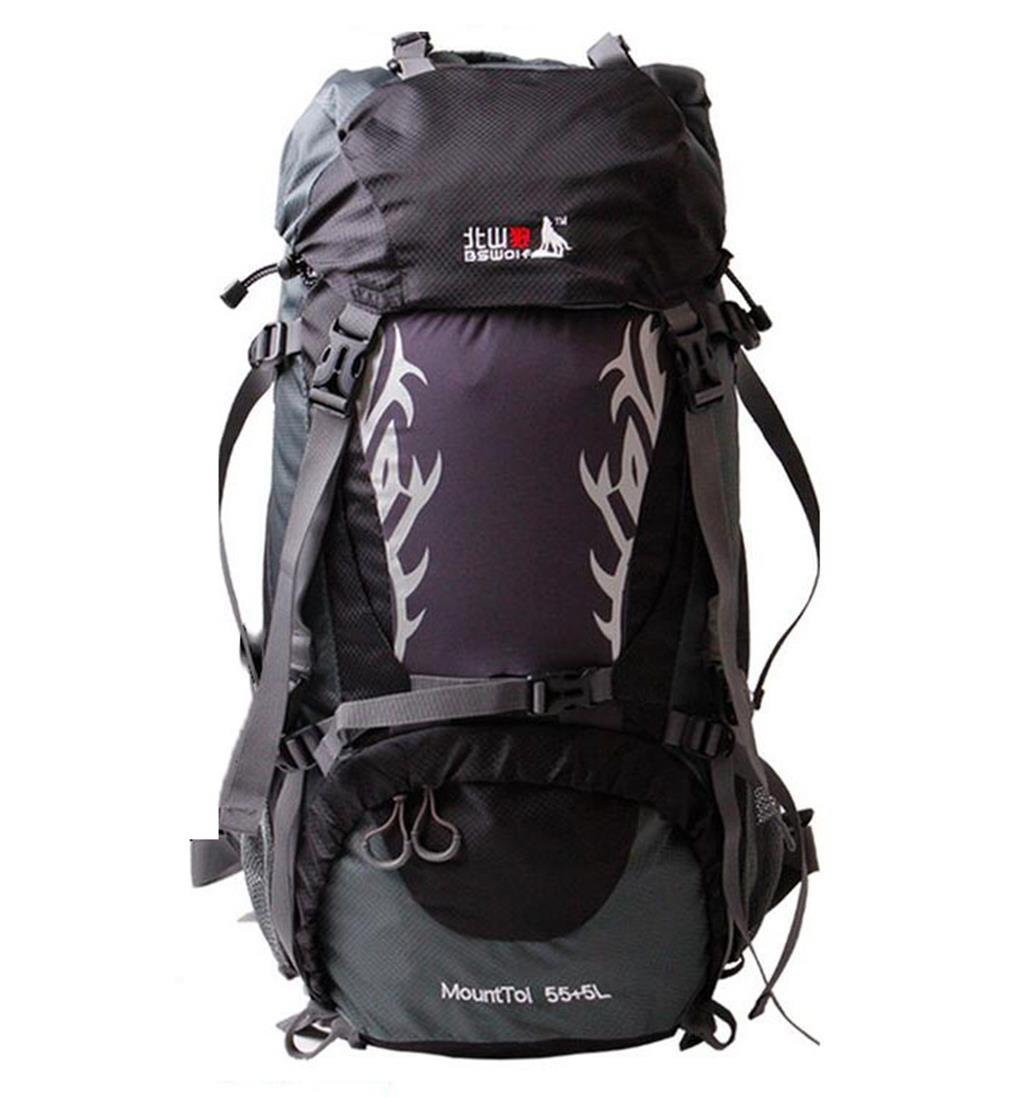 ハイキングバッグアウトドア登山バッグ大容量ショルダーバッグメンズとレディース旅行バックパックキャンピングバッグ60l 50lハイキングバックパック 60L ブラック B07CDDGW6P ブラック 60L