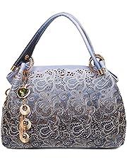 EGOGO Leather Ladies Shoulder Bag Hollow Tote Bag for Women's Hobo Handbags E522-1 (Grey)