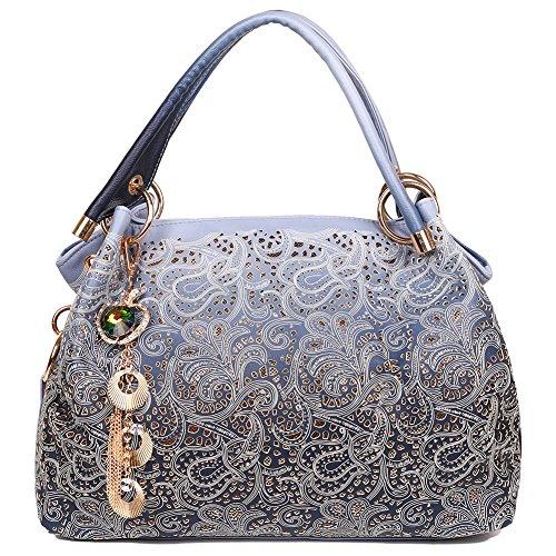 EGOGO Damen Handtasche Leder Henkeltasche Hollow Tote Tasche Für Fraun Schultertasche E522-1 Blau ZzVDpClJtU
