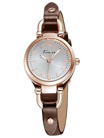 Alienwork Reloj Mujer Relojes Piel de Vaca marrón Analógicos Cuarzo Oro Rosa Blanco Impermeable Vintage Elegante