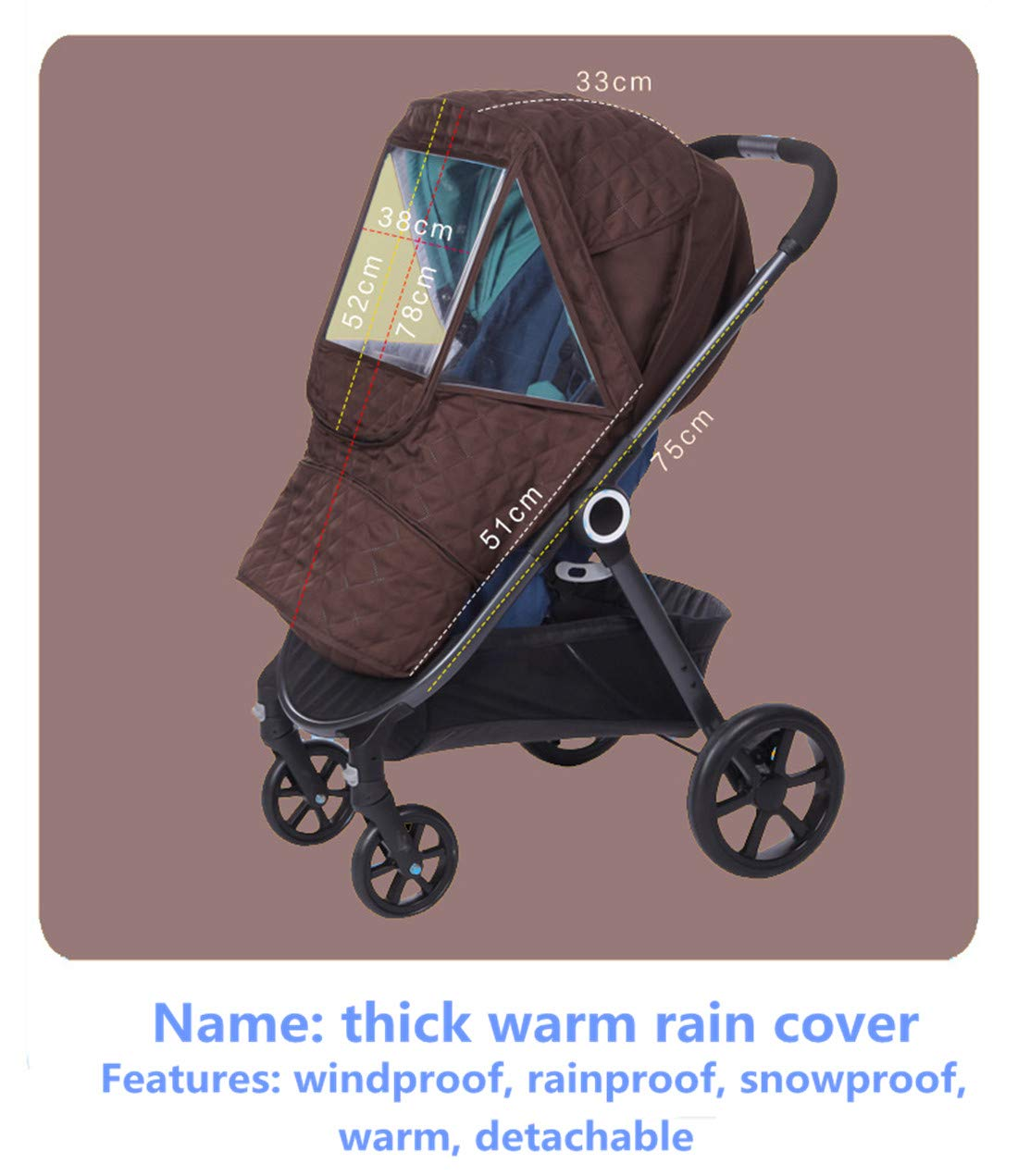 Universal Stroller rain Cover Baby Stroller Windshield rain Cover, Snow Cover, Warm Winter Sunshade Waterproof Cover (Brown Color) by Anglebay (Image #4)