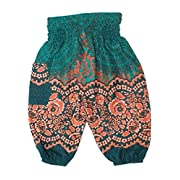 Lofbaz Baby Hippie Harem Aladdin Rose Flower Child Pants Bohemian Baggy Teal Green Size 0-3M