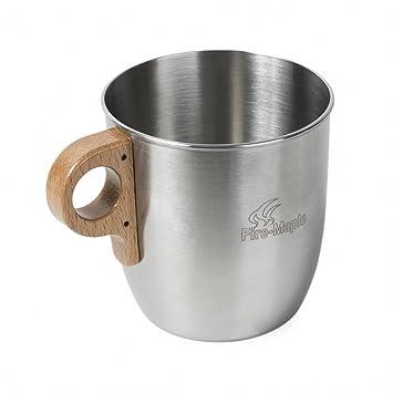 Fire-Maple Taza botella de agua café té de acero inoxidable portátil con manija de madera para cocina camping, senderismo, picnic, al aire libre 375ml