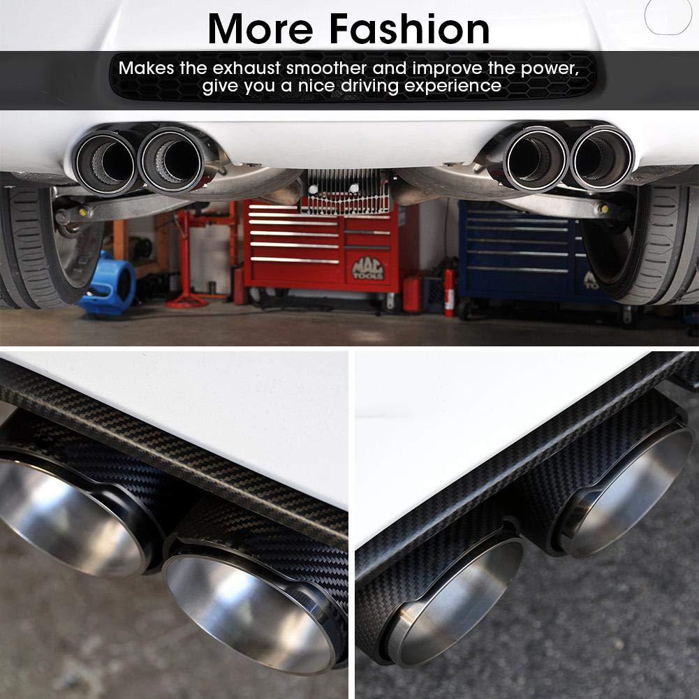 Auto Auspuff Carbon Style Matte Car 1 in 2 Auspuff Endtip Endrohr f/ür 63mm 89mm