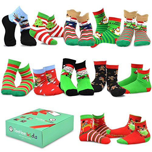 TeeHee Christmas 12-Pack Cotton Socks, Great Value Gift Box for Kids (6-8Y, Snowman Plus)