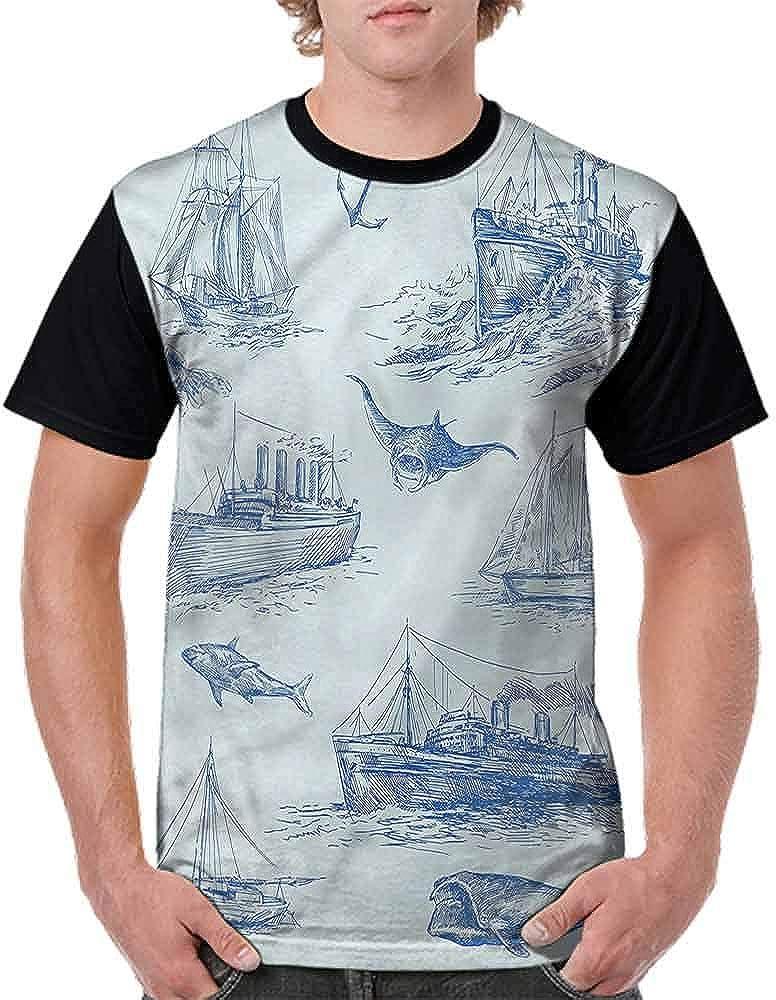 Performance T-Shirt,Wildlife Shark Boat Fashion Personality Customization