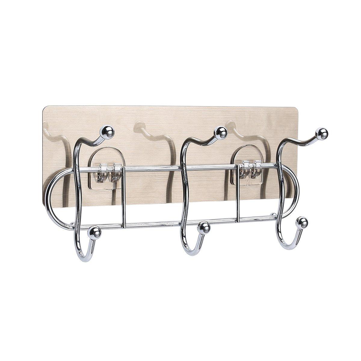 Metrekey Powerful Adhesive Hooks for Bathroom Wall Heavy Duty Towel Hanger Kitchen Door Multifunctional Key Holder Stainless Stell