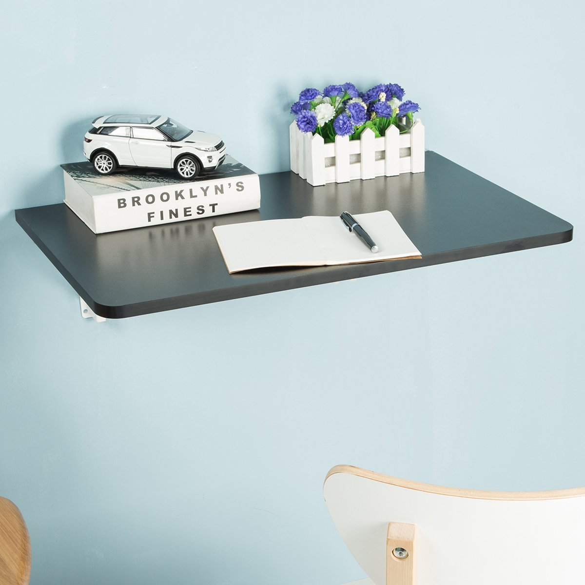 FSC Certified Wall-Mounted Folding Table for Office Home Kitchen, Black by Edencomer