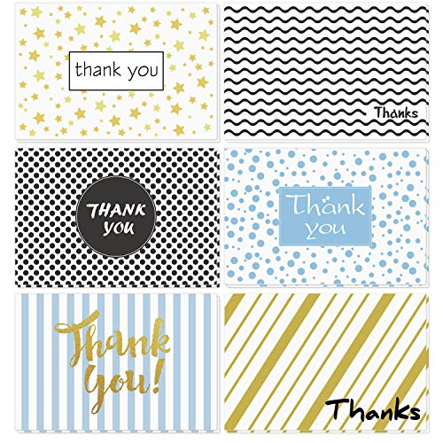 Thank You Cards of Ohuhu, 6 Design of 48 Postcard Style Thank U Card for Wedding, Baby Shower, Business, Anniversary - Include Envelopes and Stickers - One Blank Side Thank You Notes, 4 x 6 Inch