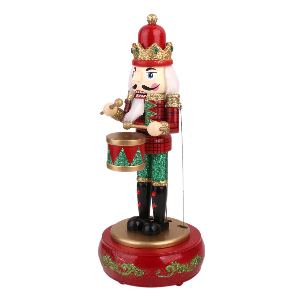 Baoblaze 13'' Vintage Wooden Musicbox Nutcracker Drummer Soldier Christmas Gifts Decoration