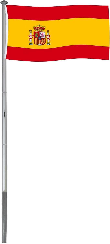 BRUBAKER Mástil Aluminio Exterior 6 m Incluye Bandera de España 150 x 90 cm y Soporte de Tierra: Amazon.es: Jardín