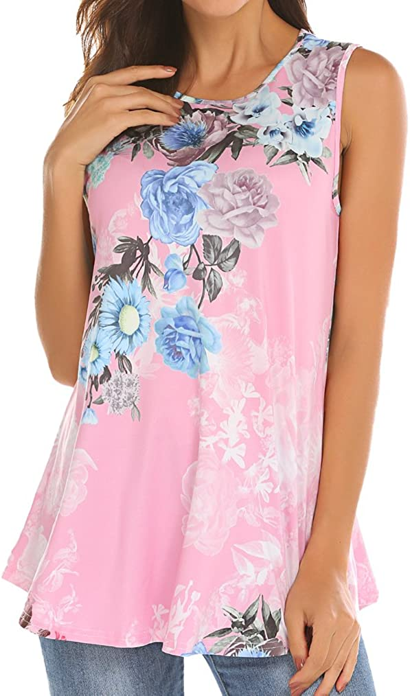 Tobrief Women Sleeveless Floral Print Swing Tunic Tank Tops