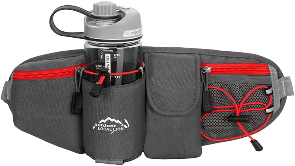 Tofern Unisex Waterproof Fanny Pack with Water Bottle Holders Waist Bag Outdoor Hiking Running Travel Adventure Trekking Sightseeing Jogging Waist Pack