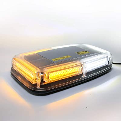 LE-JX White & Amber Led Strobe Warning Light Rotating Beacon Roof Top Plow Hazard Flash Emergency Light 12-24 Volt with Magnetic Base Mount and Cigar Lighter Plug (WhIte & Yellow, 6 COB LED): Automotive