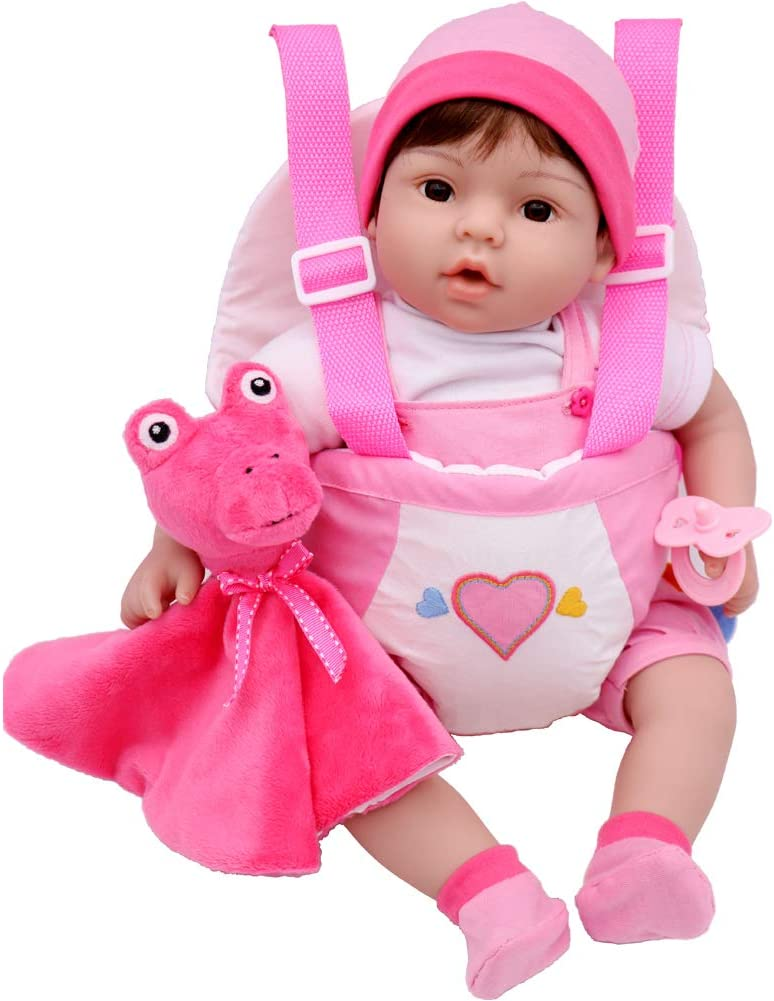 Aori Reborn Baby Doll 18 inch Lifelike Doll Weighted Baby Doll with Carrier 8-Piece Gift Set