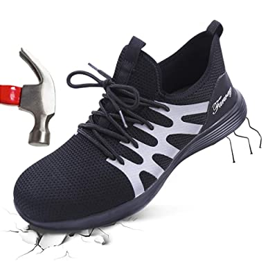 Farway Steel Toe Shoes Men's Safety Work Industrial Construction Breathable Sneakers Outdoor Composite Toe Shoes Lightweight Puncture Proof Footwear: Shoes