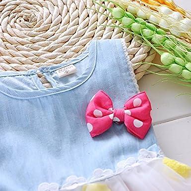 Kids Girls Bowknot Striped Tutu Dress Party Lace Ruffled T-Shirt Skirt
