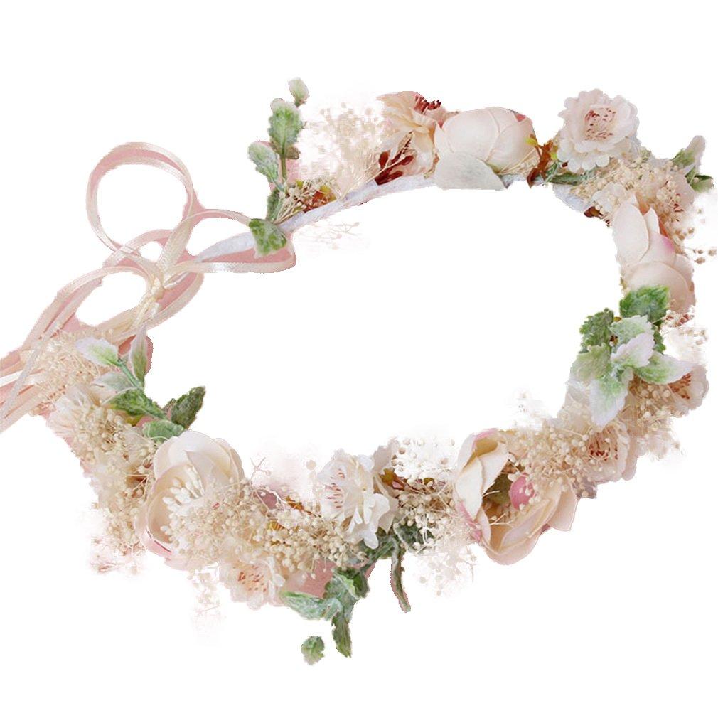 YAZILIND demoiselle d'honneur fleur couronne de mariage coiffe nuptiale rose floral Couronne guirlande bandeau avec ruban YAZILIND JEWELRY LIMITE 1702T0270